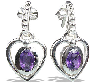 Design 13208: purple amethyst heart earrings