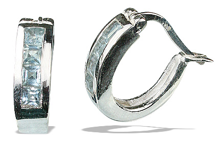 Design 13214: blue blue topaz hoop earrings