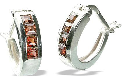 Design 13215: red garnet hoop earrings