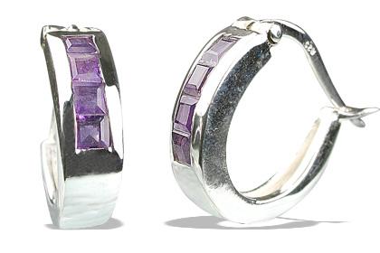Design 13216: purple amethyst hoop earrings