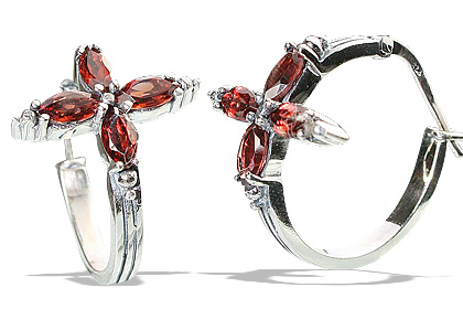 Design 13224: red garnet flower, hoop earrings