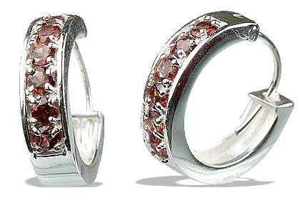 Design 13227: red garnet hoop earrings