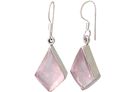 Design 13529: pink rose quartz earrings
