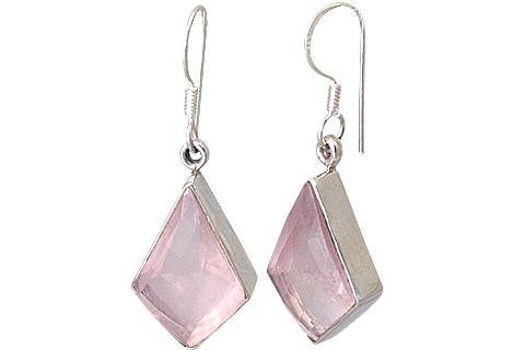 Design 13537: pink rose quartz earrings
