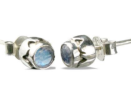 Design 13563: blue,white moonstone post, studs earrings