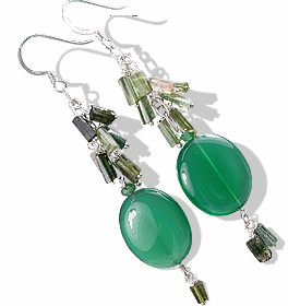 Design 13619: green aventurine chandelier earrings