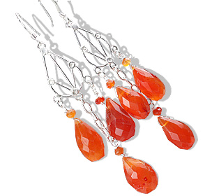 Design 13625: orange carnelian chandelier earrings