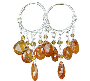 Design 13878: yellow citrine hoop earrings
