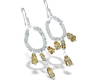 Design 13879: blue,white,yellow citrine hoop earrings