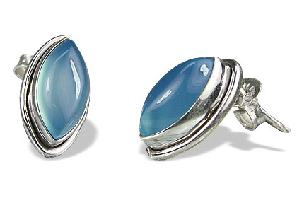 Design 13909: blue chalcedony post earrings