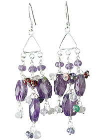 Design 13943: purple,multi-color amethyst chandelier earrings
