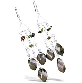 Design 13945: brown,multi-color smoky quartz chandelier earrings