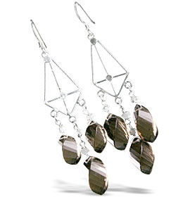 Design 13946: brown,white,yellow smoky quartz chandelier earrings