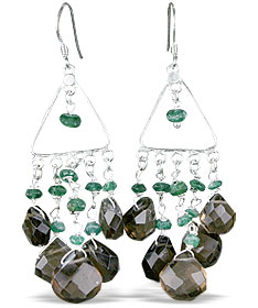 Design 13950: brown,green smoky quartz chandelier earrings