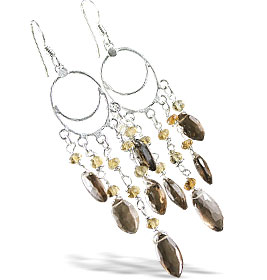 Design 13956: brown,yellow smoky quartz chandelier earrings