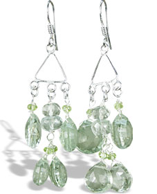 Design 14015: green prehnite chandelier earrings