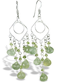 Design 14016: green prehnite chandelier earrings