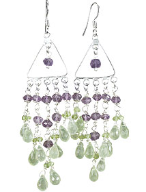 Design 14017: green,purple prehnite chandelier earrings