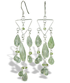 Design 14018: green prehnite chandelier earrings