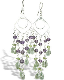 Design 14020: green,purple prehnite chandelier earrings