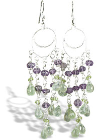 Design 14021: green,purple prehnite chandelier earrings