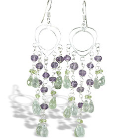 Design 14022: green,purple prehnite chandelier earrings