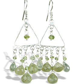 Design 14023: green prehnite chandelier earrings