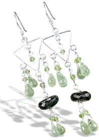 Design 14027: brown,green prehnite chandelier earrings
