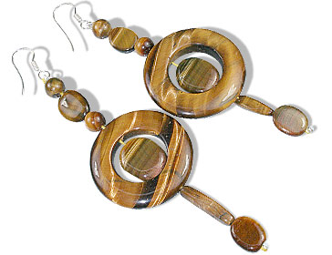 Design 14704: brown tiger eye contemporary earrings