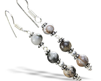 Design 14852: black,gray jasper earrings