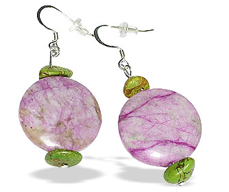 Design 14924: green,pink,purple mohave earrings