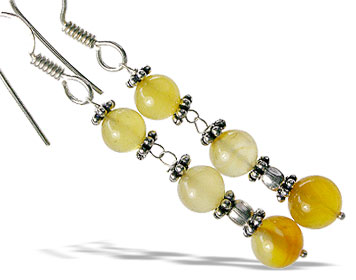 Design 14929: brown,yellow chalcedony earrings