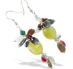 Design 14989: yellow,multi-color multi-stone cha-cha earrings