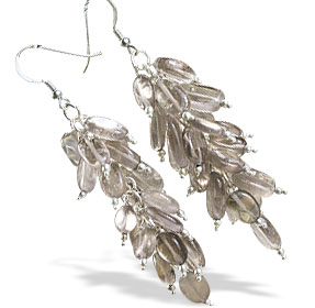 Design 15000: brown,gray smoky quartz chandelier earrings