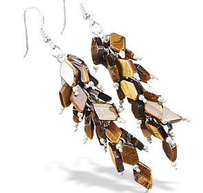 Design 15048: brown,yellow,multi-color tiger eye chandelier earrings