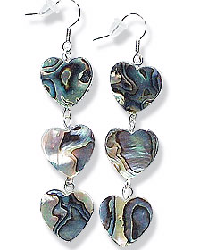 Design 15061: multi-color mother-of-pearl heart earrings