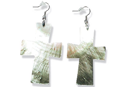 Design 15069: gray shell christian earrings