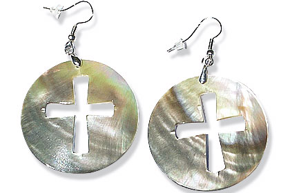 Design 15070: multi-color shell christian earrings