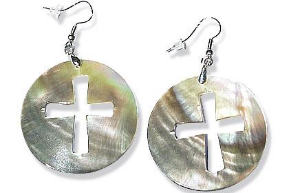 Design 15070: multi-color shell christian earrings