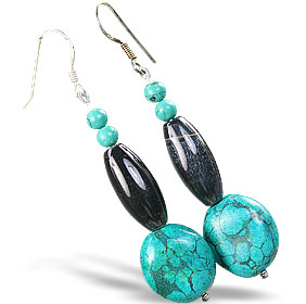Design 15192: brown,green turquoise earrings