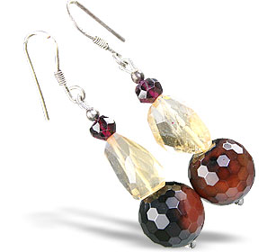 Design 15196: brown,yellow,multi-color agate earrings