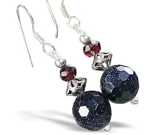 Design 15203: blue,red goldstone earrings