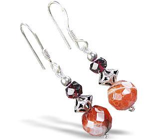 Design 15204: orange,red agate earrings