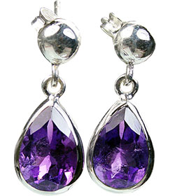Design 15421: purple amethyst post earrings