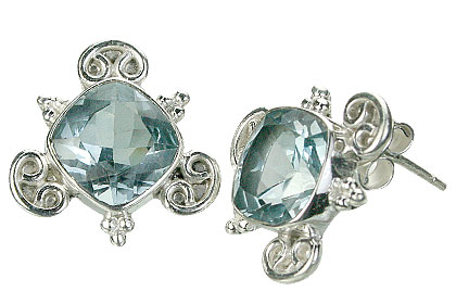 Design 15427: blue blue topaz post earrings