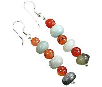 Design 15586: brown,green,orange carnelian earrings