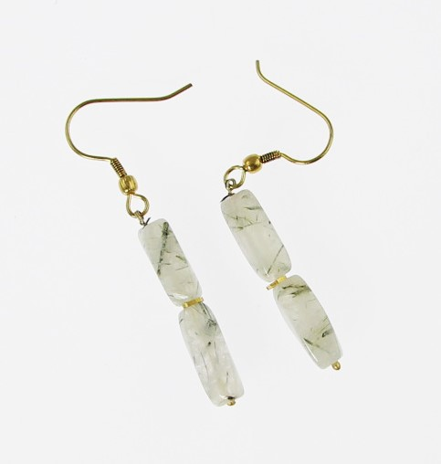 Design 15826: white rutilated quartz earrings