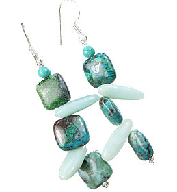 Design 16134: green,white chrysocolla earrings