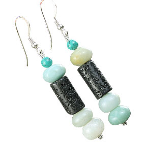 Design 16269: black,green,multi-color turquoise ethnic earrings