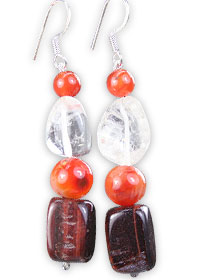 Design 16270: brown,red,white carnelian multistone earrings
